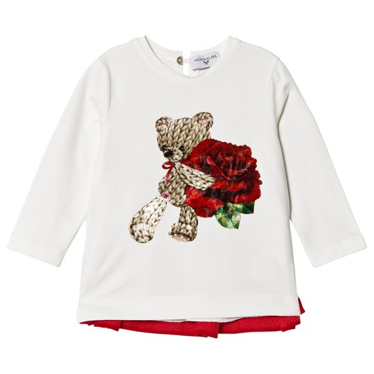 Monnalisa Cream Bear and Rose Print Tunic with Embroidered Back 01