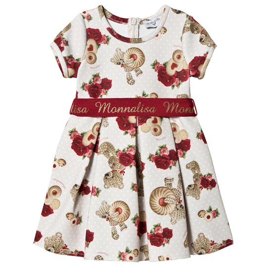 Monnalisa Ecru Roses and Heard Biscuit Print Dress with Branded Belt 0243