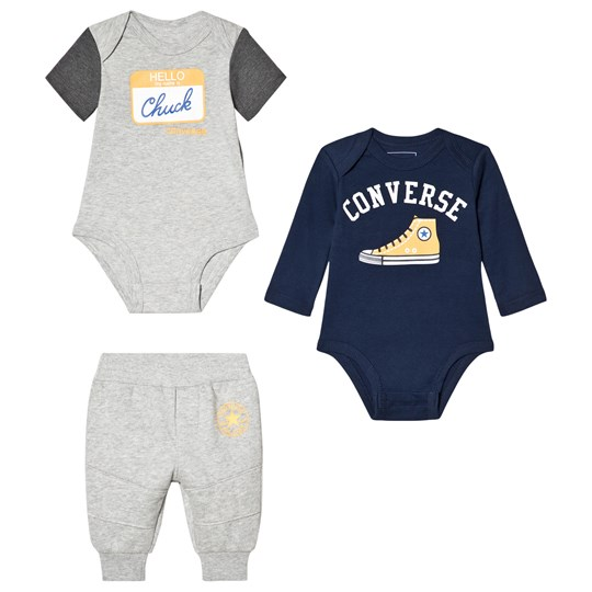 Converse Grey and Navy Branded Baby Body and Sweatpants Set 042 DARK GREY HEATHER