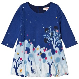 Image of Catimini Blue Bird and Forest Print Bubble Dress 18 months (3040603709)
