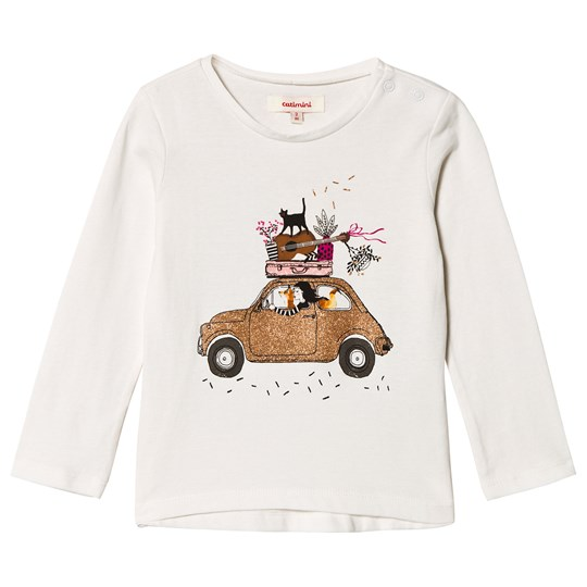 Catimini White Glitter Family Car Tee 12
