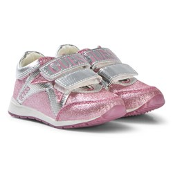 Guess Pink Glitter Branded Velcro Trainers