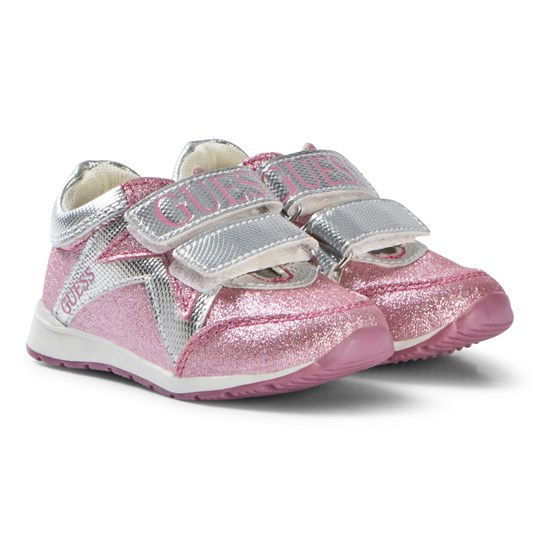 Guess Pink Glitter Branded Velcro Trainers PNK
