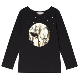 Image of Bonpoint Black and Gold Moon Print Tee 10 years (3056093379)