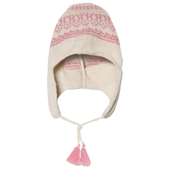 Bonpoint Cream and Pink Knit Hat 928A