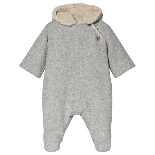 Bonpoint Grey Twill Teddy Wool Coverall 092