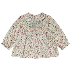 Bonpoint Cream Floral Print Smocked Blouse