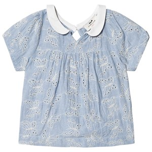 Image of Cyrillus Blue and White Butterfly Eyelet Top 10 years (3056061551)