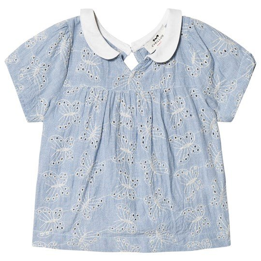 Cyrillus Blue and White Butterfly Eyelet Top 6386