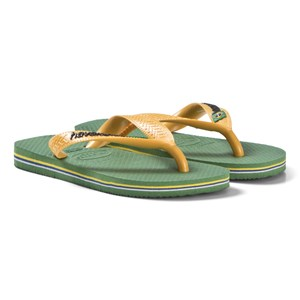 Image of Havaianas Green and Yellow Branded Flip Flops 29/30 (UK10/11, BR 27/28) (3056059489)