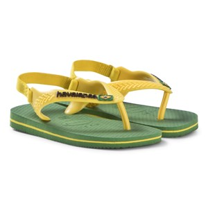 Image of Havaianas Green and Yellow Branded Infants Flip Flops 23 (UK 5, BR 21) (3056059637)