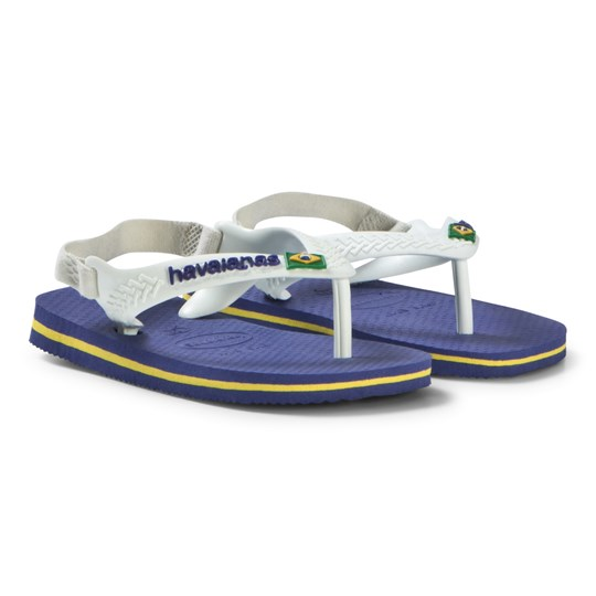 top brands picked up cute Havaianas - Blue and White Branded Infants Flip Flops ...