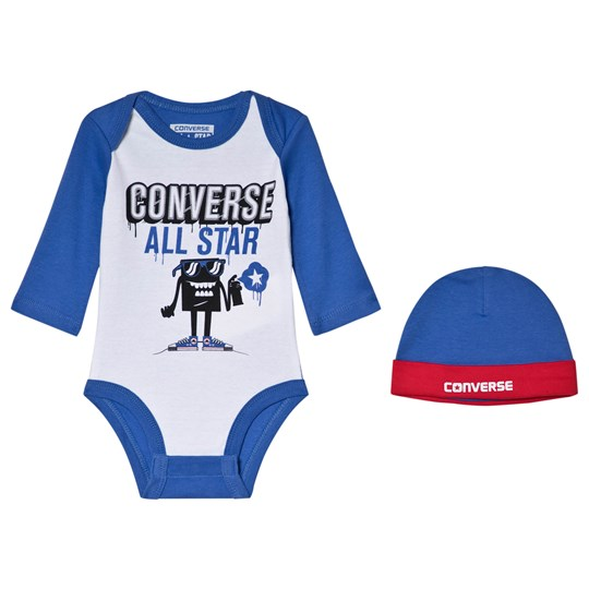 Converse White & Blue Branded Character Graphic Body & Hat Set B7E Oxygen Blue/White
