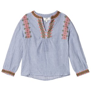 Image of Cyrillus Blue and White Embroidered Blouse 10 years (3056061563)