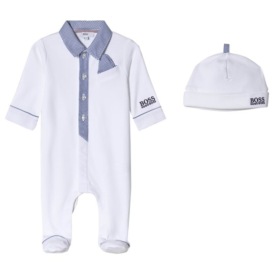 BOSS White Polo Interlock Branded Footed Baby Body and Hat Set 10B