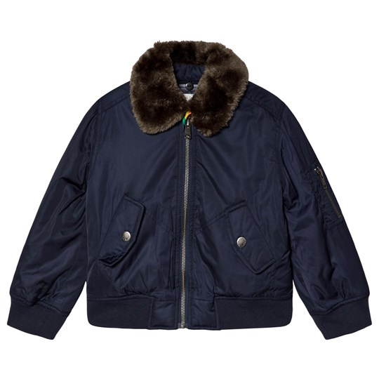 Paul Smith Junior Navy Aviator Jacket with Detachable Faux Fur Collar Navy