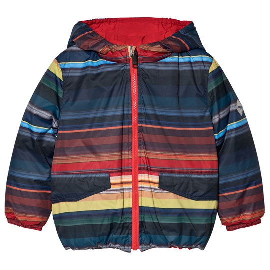 Paul Smith Junior Red and Multicolor Reversible Puffer Jacket Red