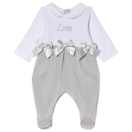 Mintini Baby White and Grey Love Footed Baby Body White/Grey