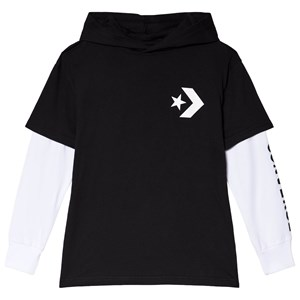 Image of Converse Black Jersey Two-Fer Long Sleeve Hooded Tee 10-12 years (3056105157)