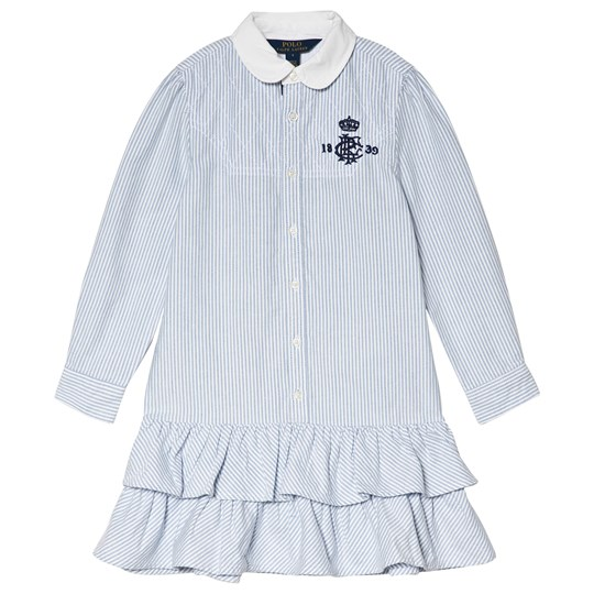 4f048e63 Ralph Lauren - Blue and White Oxford Shirt Dress with Frill Skirt ...