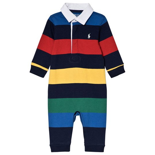 Ralph Lauren Multi Colour Stripe Jersey Footless Rugby Babygrow 003