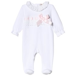 Mintini Baby White and Pink Footed Baby Body with Frill Collar