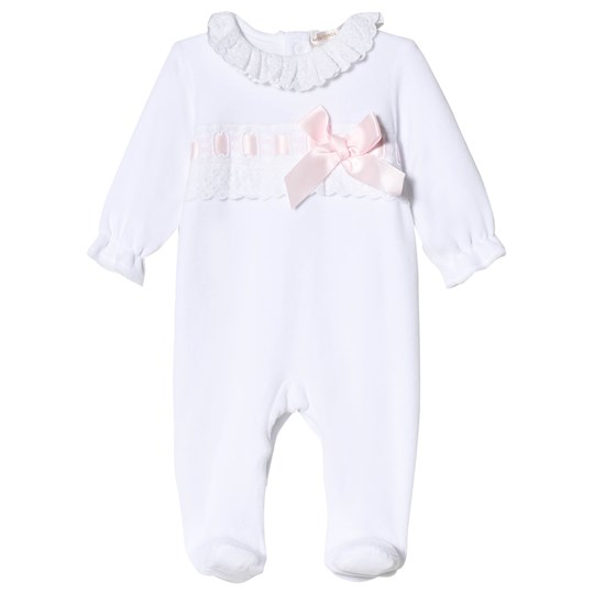 Mintini Baby White and Pink Footed Baby Body with Frill Collar White/Pink