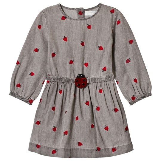 Stella McCartney Kids Grey Skippy Dress with Embroidered Lady Bugs 1263 - Lady Bugs Embro