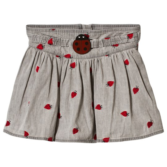 Stella McCartney Kids Grey Graciela Skirt with Embroidered Lady Bugs 1263 - Lady Bugs Embro