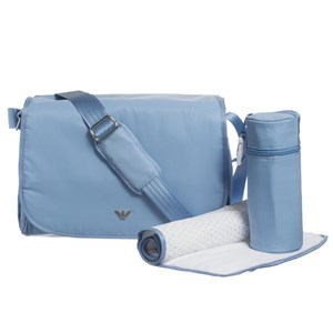 Image of Emporio Armani Pale Blue Changing Bag with Mat and Bottle Holder (3056077639)