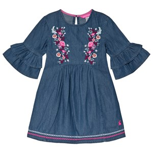 Image of Tom Joule Blue Florence Chambray Floral Embroidered Dress 11-12 years (3056081883)
