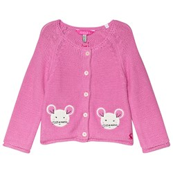 Tom Joule Pink Dorrie Mouse Knitted Cardigan