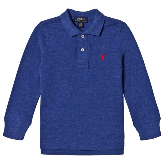 Ralph Lauren Embroidered Logo Long Sleeve Polo Bright Blue Heather 006