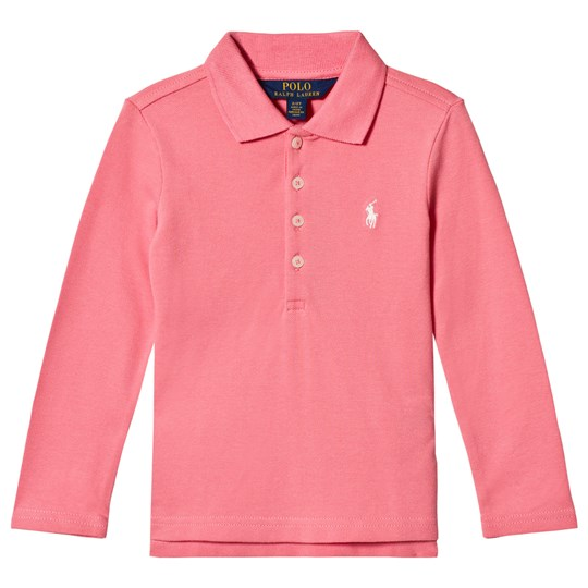 Ralph Lauren Embroidered Logo Long Sleeve Pique Polo Pink 003