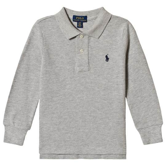 Ralph Lauren Embroidered Logo Long Sleeve Polo Grey Heather 014