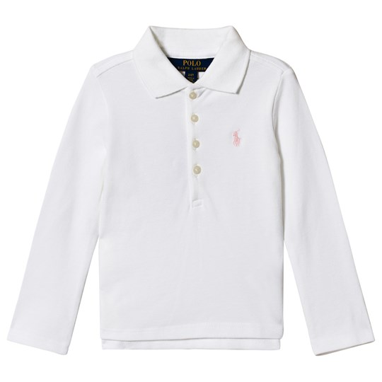 Ralph Lauren Embroidered Logo Long Sleeve Pique Polo White 004