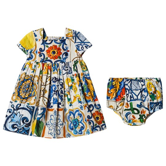 Dolce & Gabbana Majolica Print Poplin Dress with Bloomers HAR37