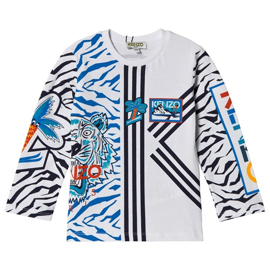 Kenzo White Logo and Tiger Print Long Sleeve Tee 01