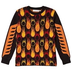 Stella McCartney Kids Black and Orange Lucky Jumper with Flame Print