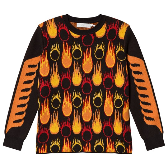 Stella McCartney Kids Black and Orange Lucky Jumper with Flame Print 1073 - Black