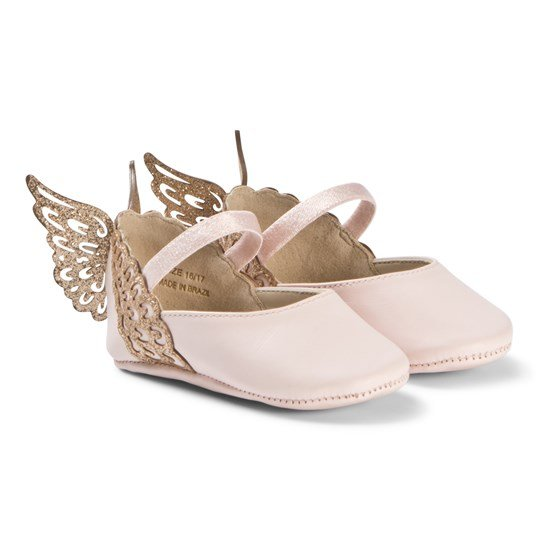 Sophia Webster Mini Pink Evangeline Crib Shoe with Gold Wings Heavenly Pink & Rose Gold
