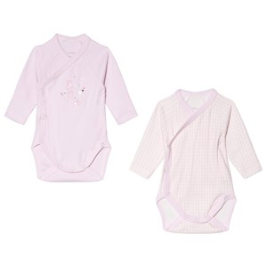 Image of Absorba Pale Pink Bunny and Gingham Wrap Body 2-Pack 12 months (3056071081)