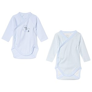 Image of Absorba Pale Blue Polar Bear and Gingham Wrap Body 2-Pack 12 months (3056071113)