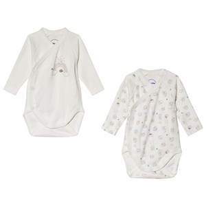 Image of Absorba White and Gold House and Rainbow Print Wrap Body 2-Pack 12 months (3056071125)