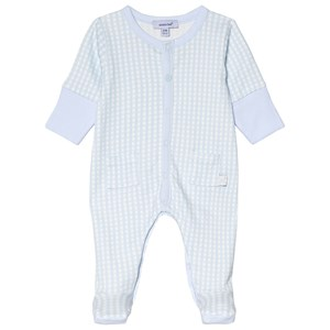 Image of Absorba Pale Blue and White Gingham Footed Baby Body Newborn (3056071017)