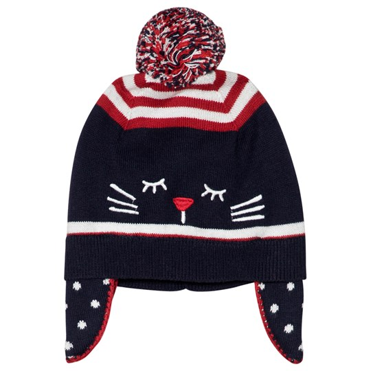 Absorba Navy Cat Knit Pom-Pom Hat 4