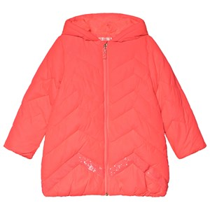 Image of Billieblush Pink Chevron Quilted Sequin Long Line Puffer Coat 2 years (1117933)