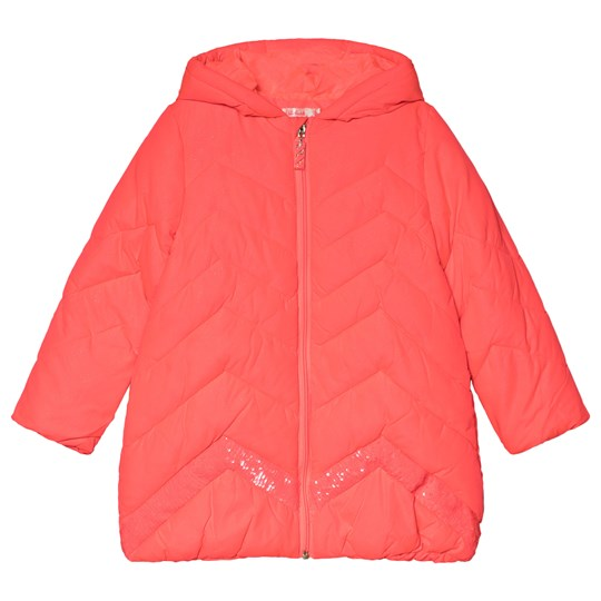 Billieblush Pink Chevron Quilted Sequin Long Line Puffer Coat 499