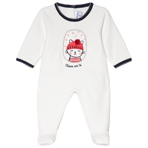 Image of Absorba White Cat Pom-Pom Velour Footed Baby Body 1 month (3056070971)