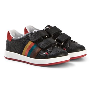 Image of Paul Smith Junior Black Leather Double Velcro Strap Sneakers 26 (UK 8.5) (3056110859)